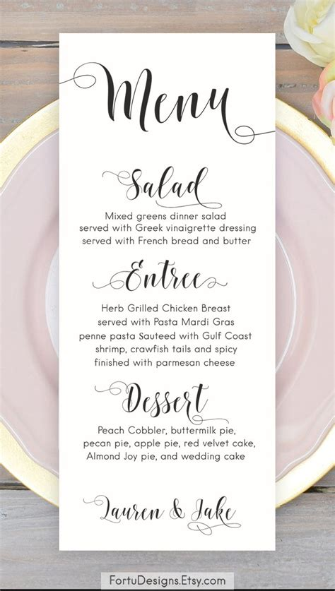 wedding menu cards templates for free calligraphy menu wedding menu printable menu cards script