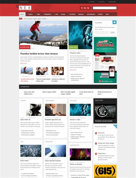 drupal themes journal responsive drupal news theme tb nex themebrain