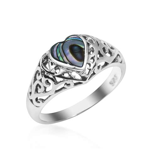 Abalone Shell Composite I true devotion abalone shell sterling silver ring 6