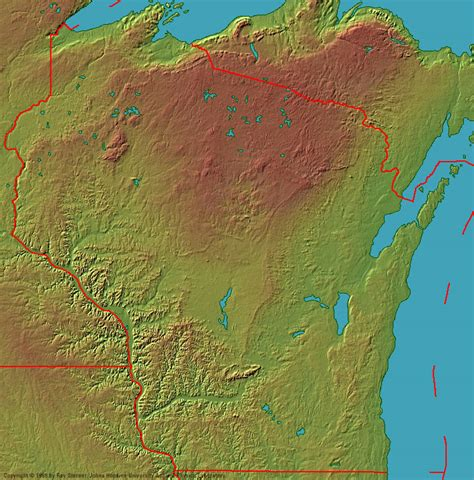 physical map of wisconsin wisconsin maps shaded relief map