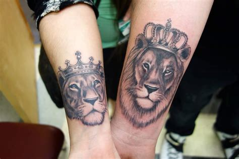 60 couple tattoos to keep the love forever alive lions