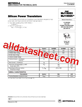 transistor mj15023 datasheet mj15023 datasheet pdf motorola inc