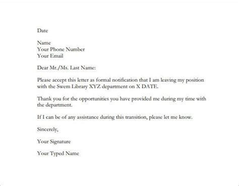 employee resignation letter templates