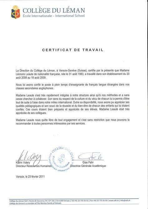 Certificat De Travail Au Coll 232 Ge Du L 233 Le De Cv