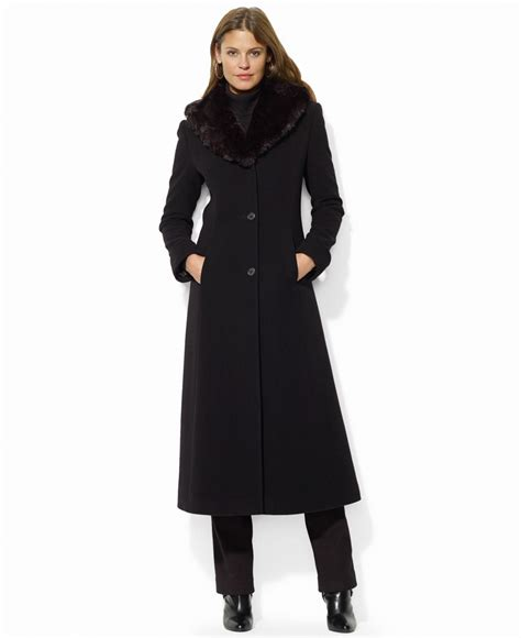Maxi Coat by ralph wool blend faux fur collar