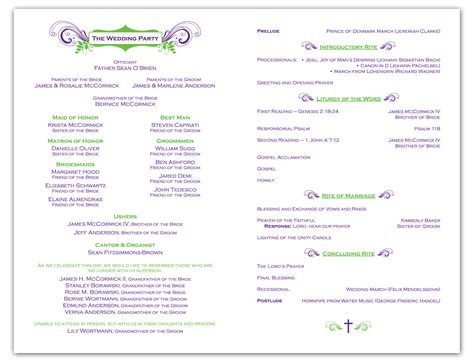 program template krista graphic design wedding ceremony program