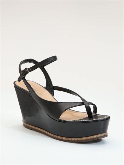 derek lam strappy leather wedge sandals in black lyst