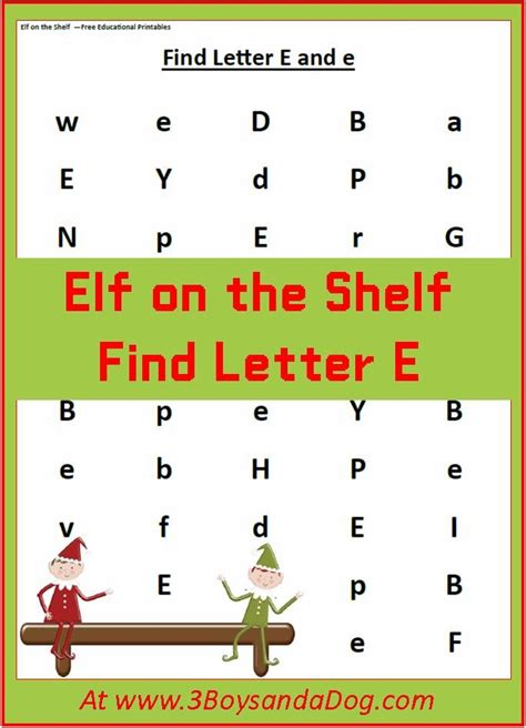 elf on the shelf printable word search find the letter e is for elf christmas printable