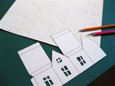 Paper Folding House Template - haunted house paper house