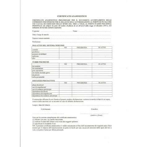 rinnovo porto d armi sportivo certificato anamnestico per porto d armi g b verrina shop