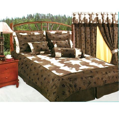 cowhide comforter set western decor rustic cow cattle ranch brands cowhide