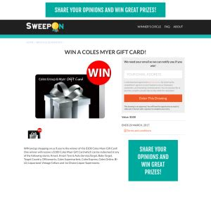 Myer Gift Card Online - sweepon win a 100 coles myer gift card prizeflow