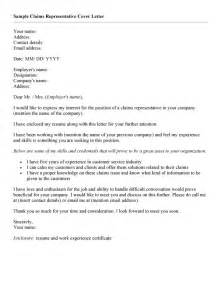 Cover Letter For Claims Adjuster by Claims Representative Cover Letter Resumes