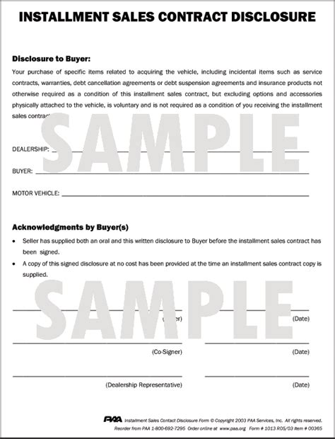 installment sale agreement template 8 1 2 quot x 11 quot forms in pads of 100