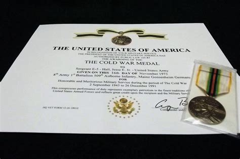 cold war service certificate the cold war medal certificate army navy usaf marines