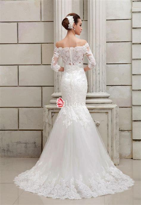 Off the Shoulder Drop Waist Mermaid Lace Wedding Dress