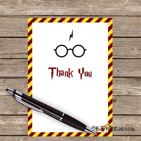 printable harry potter thank you cards 8 best images about party ideas on pinterest printable