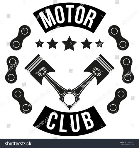 design id card club motor vintage motor club signs and label with chain and pistons