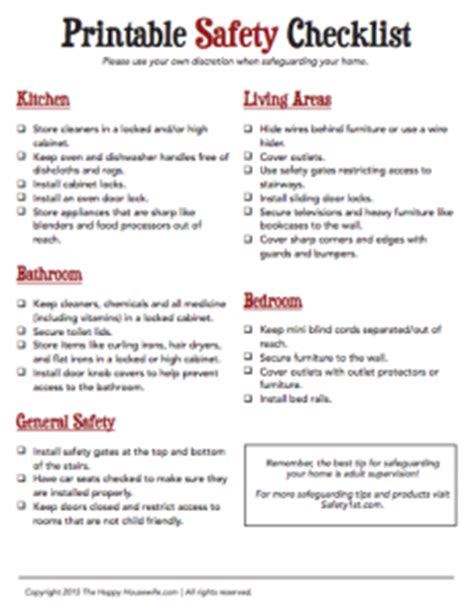 printable home safety checklist the happy
