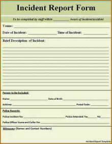Incident Report Template Word Document application form template word free ebook database