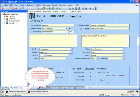 Heat Service Desk by Call Recorder For Goldmine
