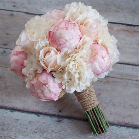 peonies bouquet shabby chic wedding bouquet peony rose and hydrangea