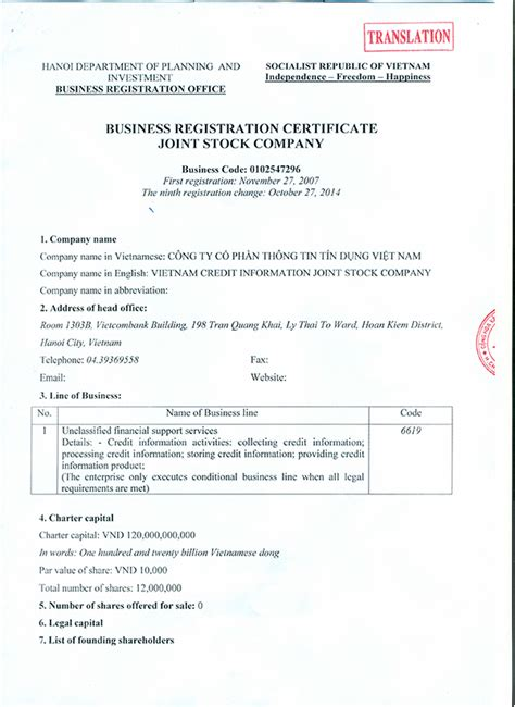 Registered Business Address Search Business Registration Certificate Joint Stock Company