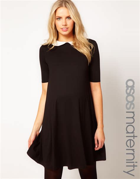 swing dress with collar asos swing dress with peter pan collar in black lyst
