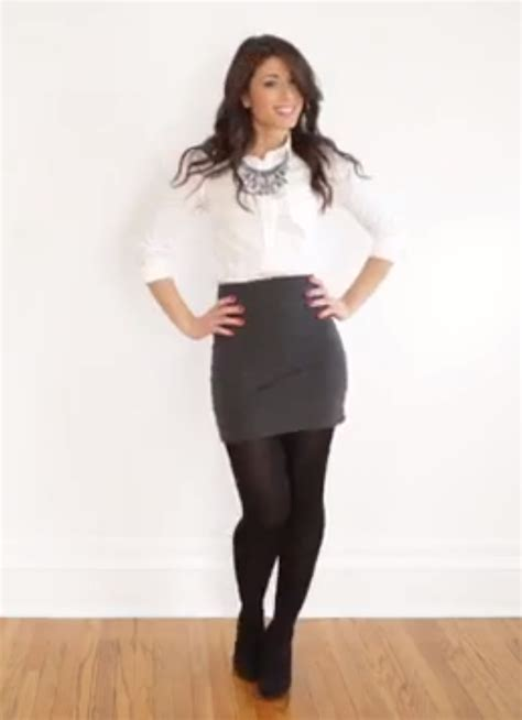 white blouse gray pencil skirt black tights and black