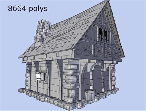 medieval style homes medieval style house 3d model game ready obj 3ds fbx