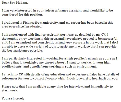 finance assistant cover letter exle finance assistant