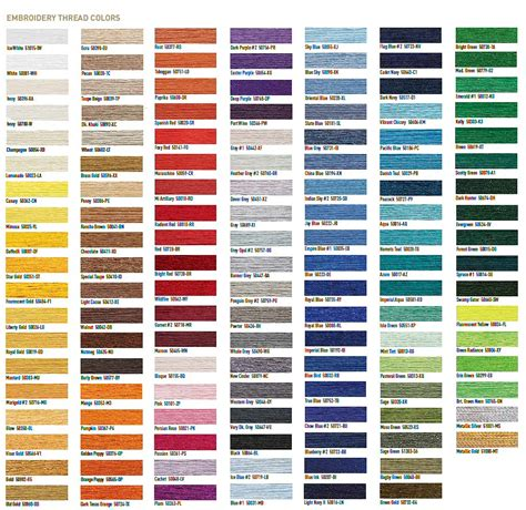 thread colors embroidery thread color comparison chart free embroidery
