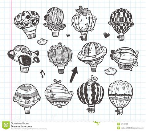 balloon doodle vector free doodle air balloon icon royalty free stock image