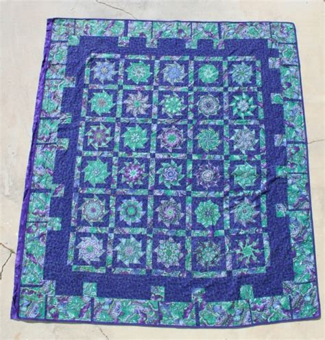 Green Quilt Purple Green Quilt With Gold Threads 187 Custom Made