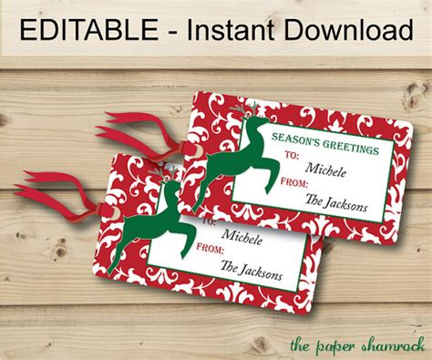 printable and editable christmas gift tags items similar to christmas gift tags holiday gift tags