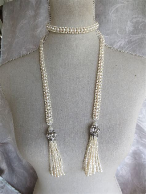 Anting Tassel Chain Pearl pearl tassel sautoir for sale at 1stdibs