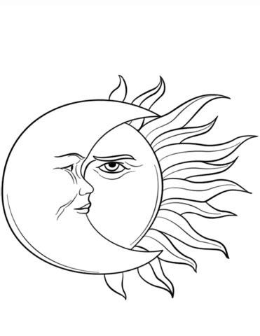 dibujo para colorear estrellas sol luna sol pinterest dibujo de el sol y la luna para colorear dibujos para
