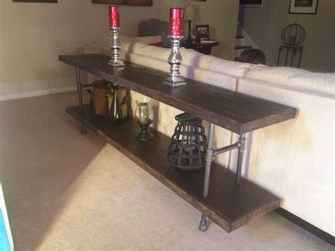 black pipe sofa table diy sofa table from black plumbing pipe plywood 1x6 s