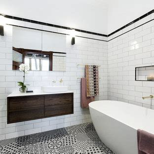 popular bathroom  black  white tile design