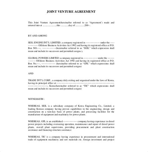 joint venture agreement templates  sample