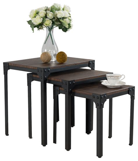Pine Coffee Table Set Country Style 3 Nesting Table Set Antiqued Black Pine Coffee Table Sets By