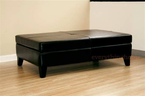 Black Leather Coffee Table With Storage Black Leather Rectangle Wide Storage Ottoman Bench Coffee Table New Modern Ebay