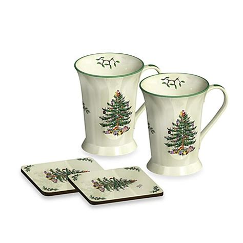 Christmas Tree Shop Bed Bath And Beyond Gift Card - spode 174 christmas tree mug and coaster set of 2 bed bath beyond