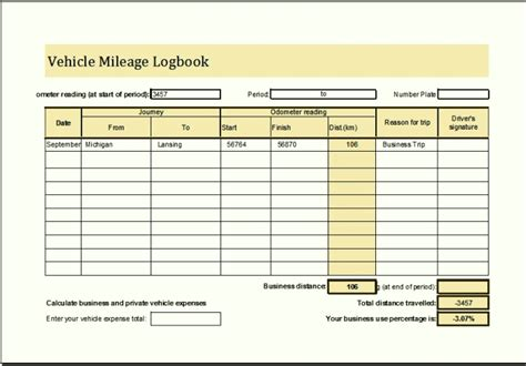 vehicle mileage log book template sle vehicle mileage log book template excel templatezet