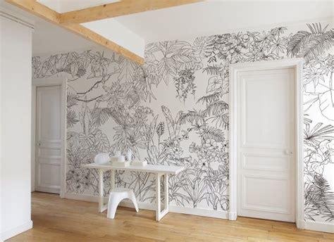 Tapisserie Noir Blanc by Papier Peint Jungle Tropical Noir Et Blanc Big Panoramique