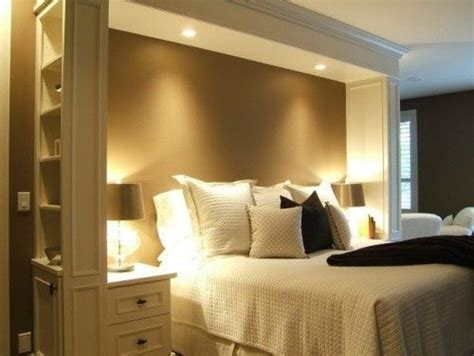 headboard idea with lights and crown molding bed area