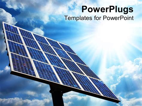 Powerpoint Template Large Solar Panel With Blue Sky And Solar Energy Powerpoint Template