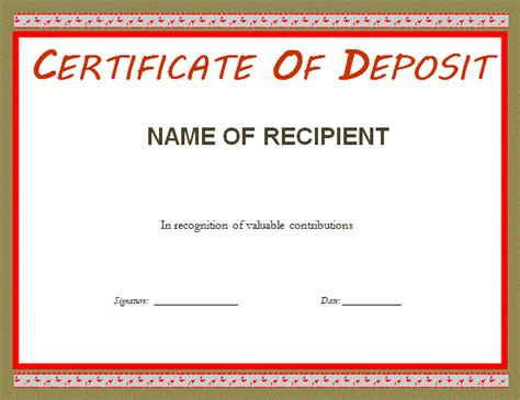 certificate of deposit template certificate of deposit template professional word templates
