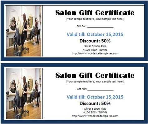 ms word salon gift certificate template word excel