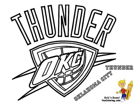 coloring pages nba team logos thunder basketball logo oklahoma city thunder coloring